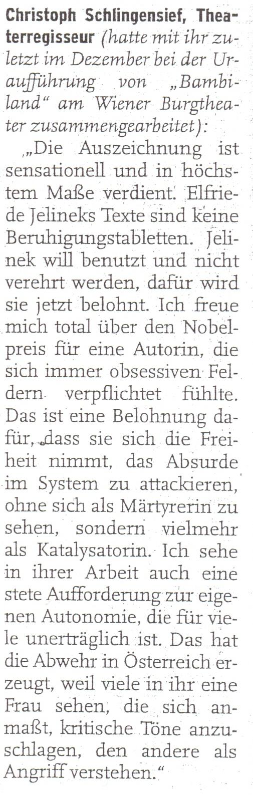 aus: Abendzeitung, 8.10.2004